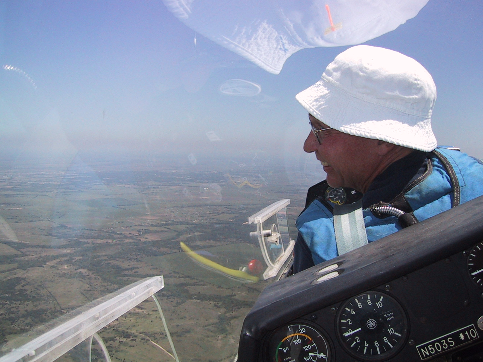 View from the back of one of Texas Soaring Club's two-place gliders